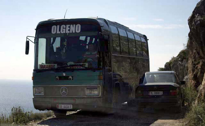 Image - Albania roads - passing a bus