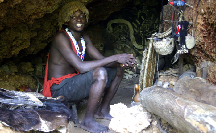 Photo of Chinganga the medicine man in his cave at the Ngomongo Cultural Centre, Mombasa, Kenya.