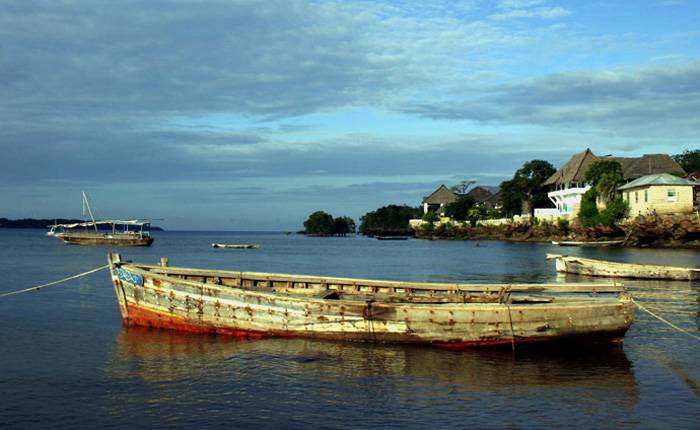 Image: Old fishing boat close to Wasini island off the coast of Kenya