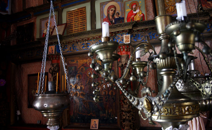 Image - Russian icons and candlestands at Kinerma church, Karelia.