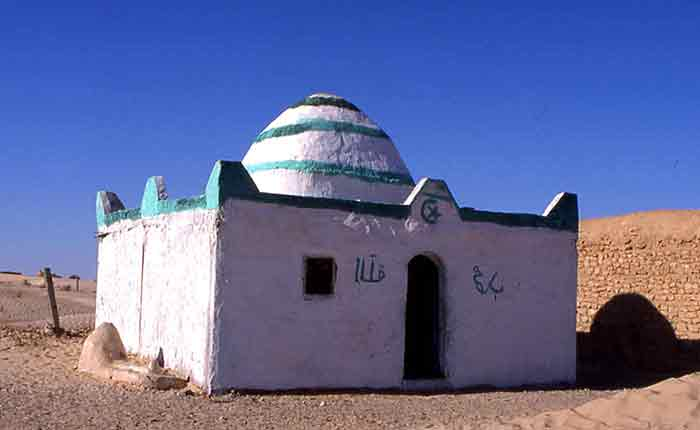 Image: the simple tomb of a wise man or Marabout - in the Sahara desert