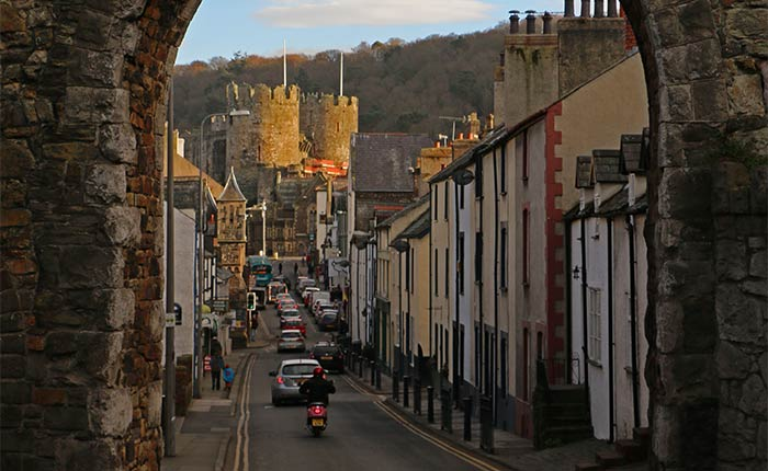 Image: Conwy in North Wales looking through the town towards the castle