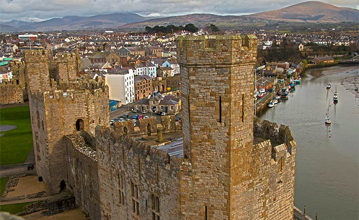 Image: Views from the tower at Caernarfon Castle