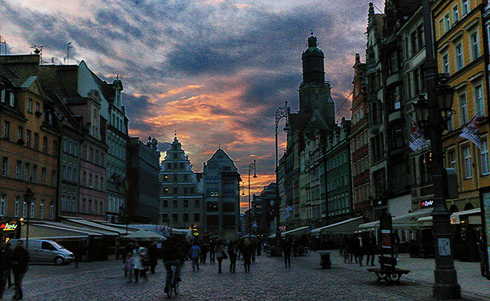 Image: Wroclaw market square at dusk