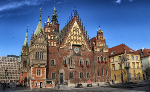Image: Wroclaw Town Hall stands at the centre of Market Square. The ornate Gothic building is one of the city's main landmarks.